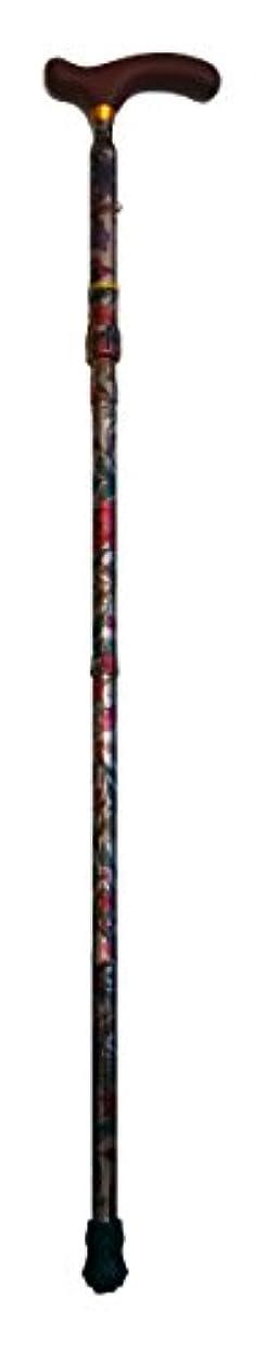 蓋一口器具サン?ビーム CH257 アルミ製4段折りステッキ(上部穴調節式) 手元木製L型(赤) シャンパン花大柄