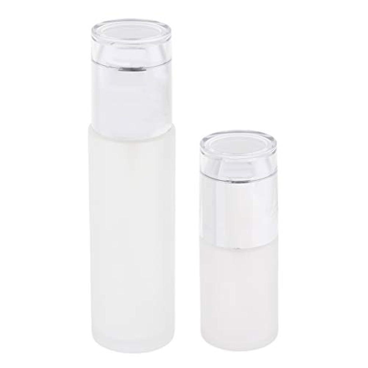 Baoblaze 2個 化粧ボトル ガラス コスメ用詰替え容器 ポンプボトル 3色選べ - 銀