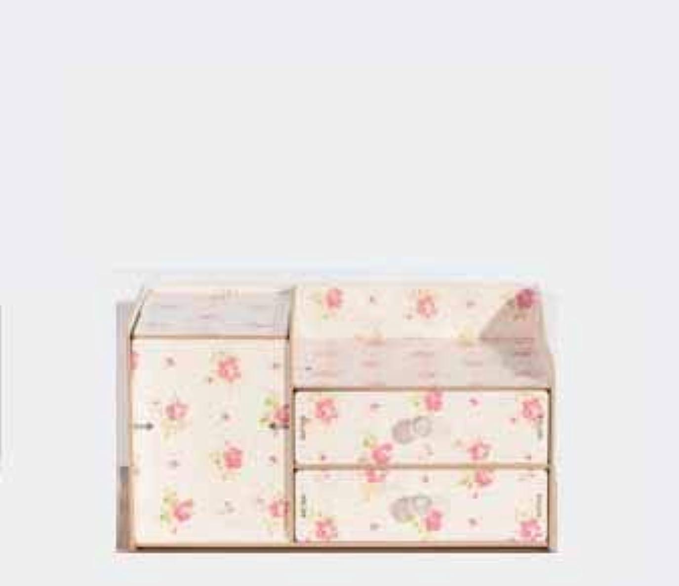 寛容な変形アロングふたおよび引出しの収納箱が付いている木の化粧品の収納箱収納箱およびミラーが付いているデスクトップの収納箱
