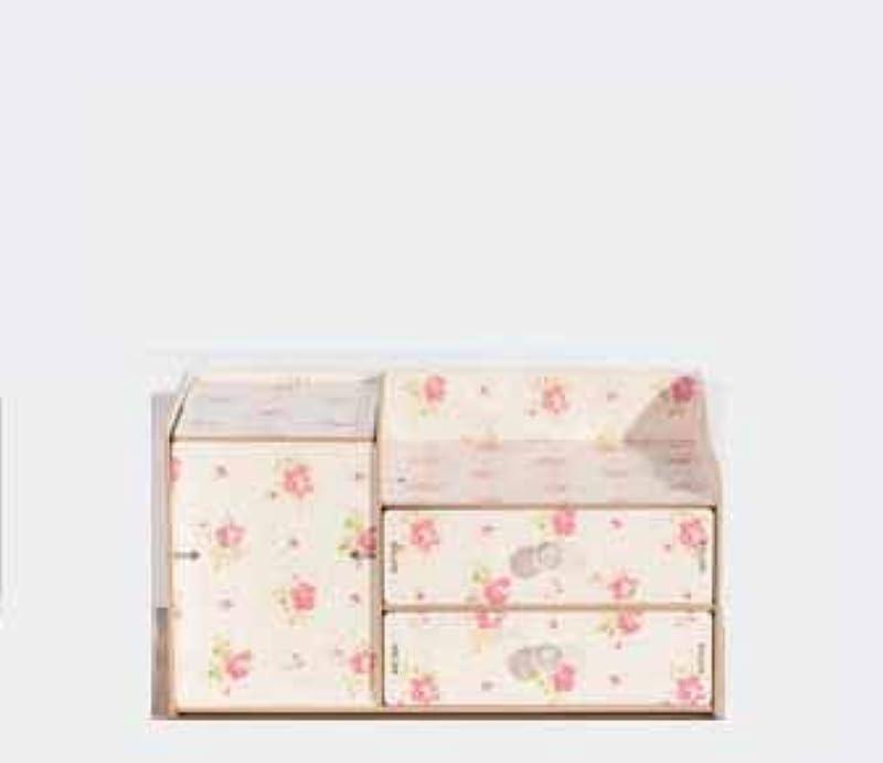 電報スカープミスペンドふたおよび引出しの収納箱が付いている木の化粧品の収納箱収納箱およびミラーが付いているデスクトップの収納箱