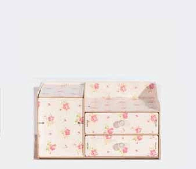 お母さんどこかトレイふたおよび引出しの収納箱が付いている木の化粧品の収納箱収納箱およびミラーが付いているデスクトップの収納箱