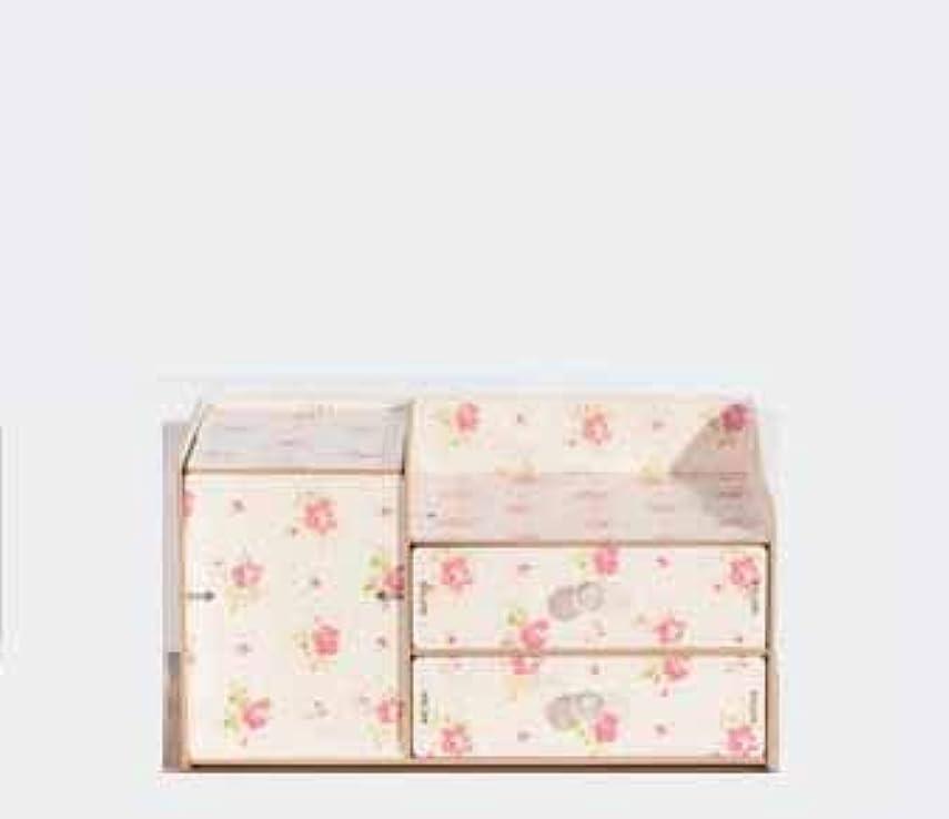 レベルヒップ看板ふたおよび引出しの収納箱が付いている木の化粧品の収納箱収納箱およびミラーが付いているデスクトップの収納箱