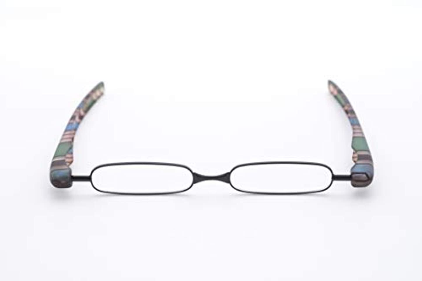 男女共に使えるオリジナルカラーでおしゃれな既成老眼鏡。ケースがいらない折りたたみタイプ 黒 +2.5