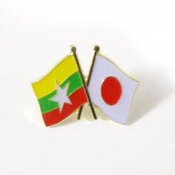 国旗ピンバッジ(日本・ミャンマー友好旗)