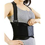 Back Brace with Suspenders for Women, Lumbar Support for Lower Back Pain, Gym / Bodybuilding / Weight Lifting Belt, Training, Work Safety and Posture - NEOtech Care (TM) Brand - Black Colour - Size M by Neotech Care