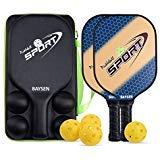 ピックルボールパドル - ボール4個とキャリーバッグセット2個、軽量8オンスグラファイトピックルボールラケット ハニカム複合コアピックルボールラケットエッジガード ウルトラクッショングリップ