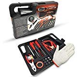 Ideas In Life Car Roadside Auto Emergency Kit - 34 Piece Travel Tool Set as Safety Survival Kit with Jumper Cables, Screwdriver Set, Pressure Gauge, Work Gloves and More