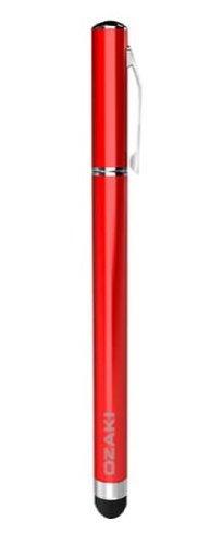 iPad/iPad 2、iPhone、iPod touchに対応した高性能スタイラスペン  ボールペンを備えたOZAKI iStroke Lレッドモデル IP016RD