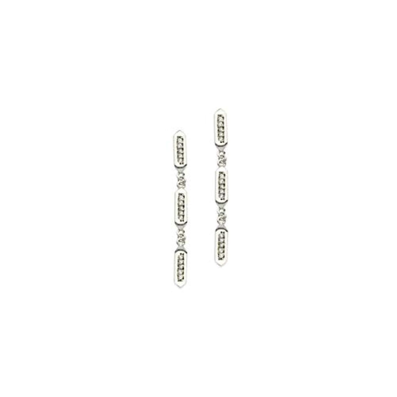 無線湖差し引くイヤリング チェスト 14K ホワイトゴールド 1/6カラット tw ダイヤモンド トリオ ヘキサゴン ダングルピアス