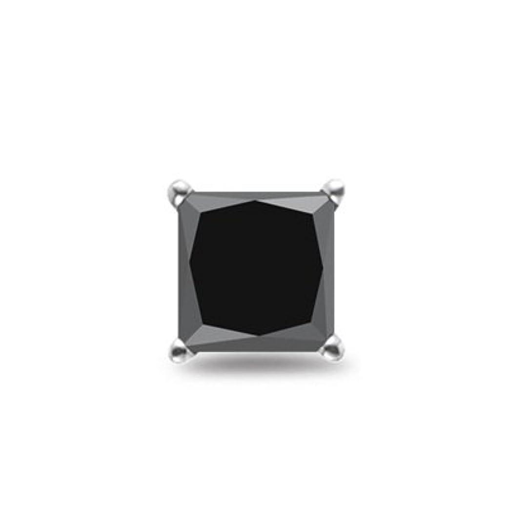 アルファベット最終的に汚れるHoliday Sale – 1 / 4 ( 0.21 – 0.27 ) CT AAAプリンセスブラックダイヤモンドメンズシングルスタッドearring- 14 kW gold-screw Backs