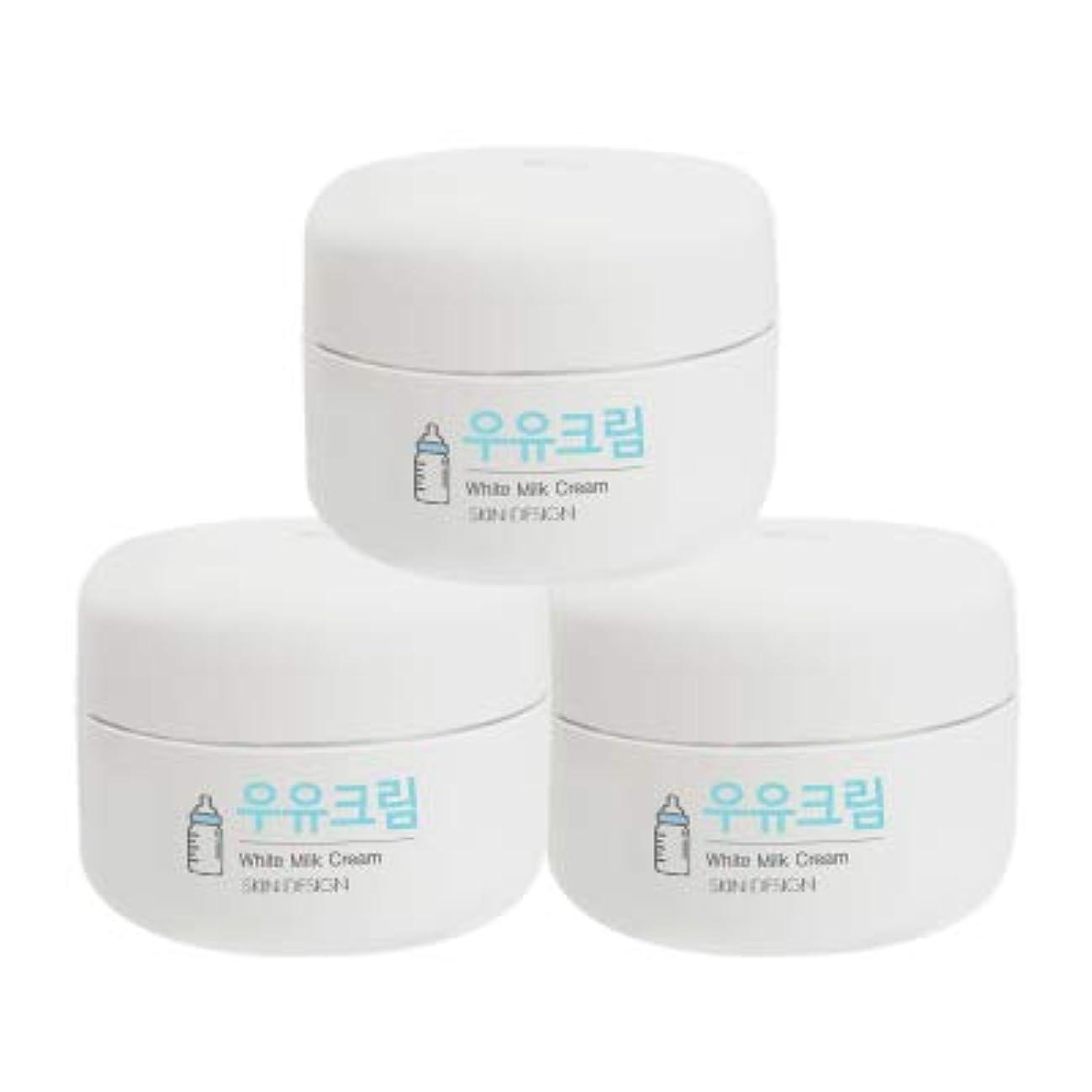 協定葬儀襟【3個】【SKIN DESIGN】 スキンデザイン 牛乳クリーム 3個セット WHITE MILK CREAM 韓国 ウユクリーム