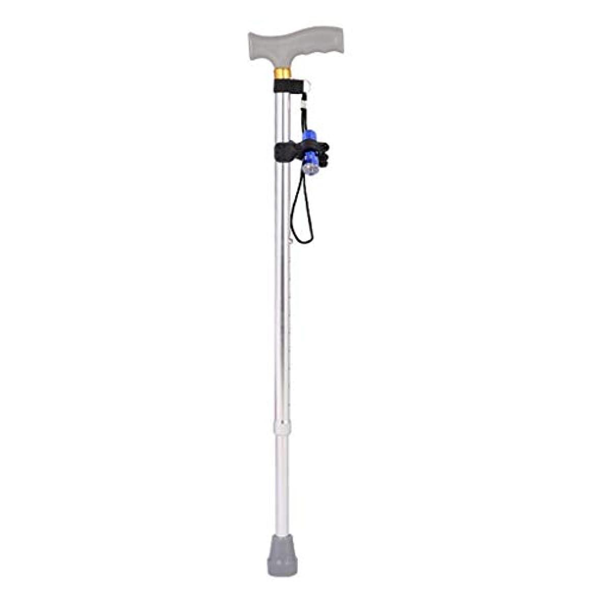 前部シャツリハーサルLEDライト、軽量高齢者の杖リトラクタブル10段落調整、柔軟性と耐久性に優れた歩行補助でリトラクタブルウォーキングケイン (Color : Silver)