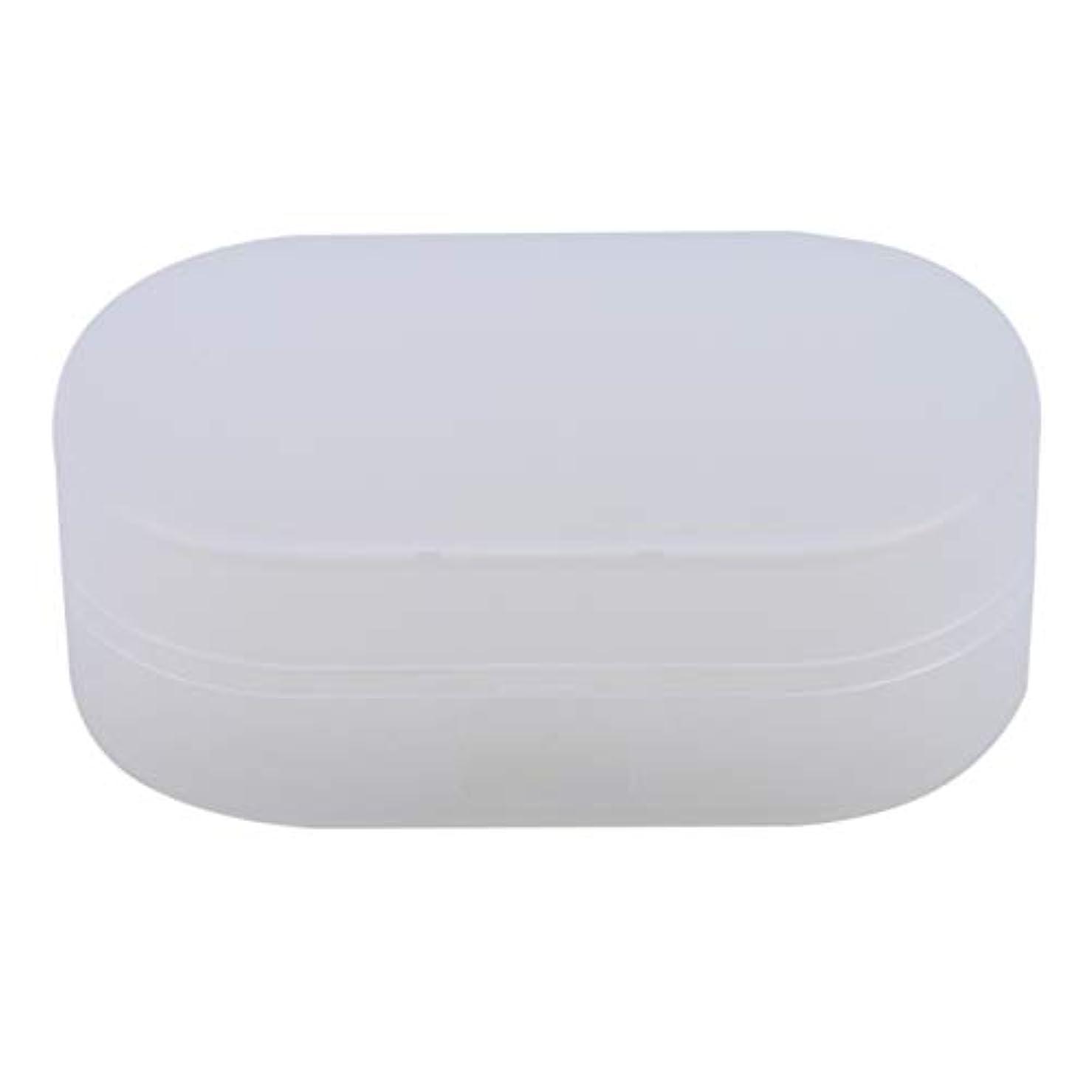 発見解放自動ZALINGソープボックスホルダーソープディッシュソープセーバーケースコンテナ用バスルームキャンプホワイト