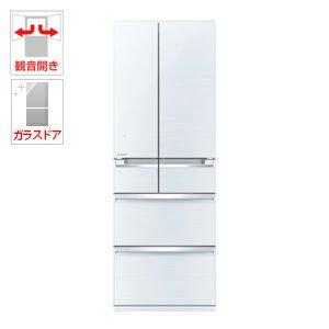 三菱 470L 6ドア冷蔵庫(クリスタルホワイト)MITSUBISHI 置けるスマート大容量 MR-WX47A-W