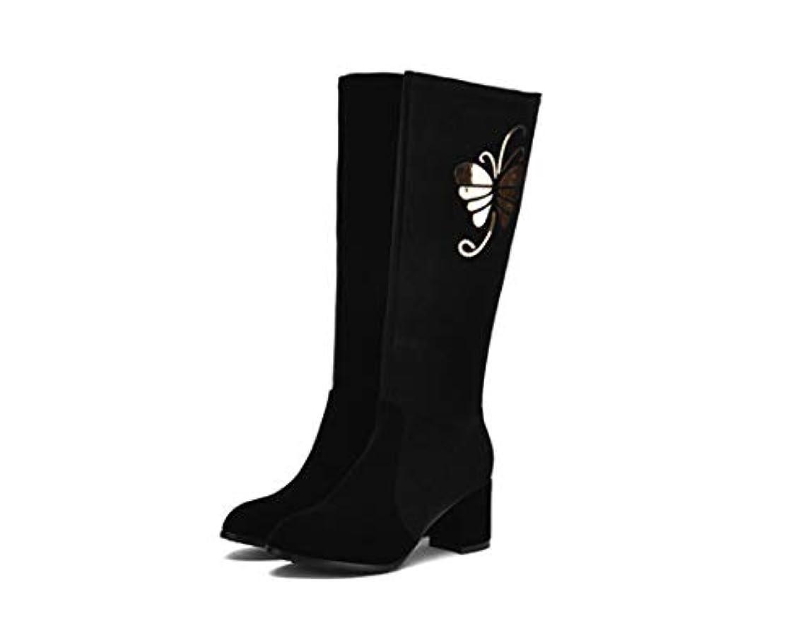 常習者理想的ランドリー女性のファッションブーツ2018秋冬ブーツChunky Heel Knee High Bootsブラックレッド