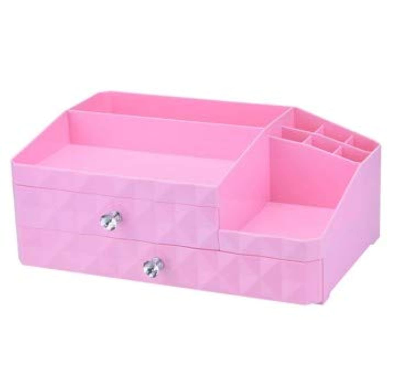 推測挑むのスコアデスクトップジュエリーボックス引き出し化粧品収納ボックス三層プラスチック仕上げボックス (Color : ピンク)