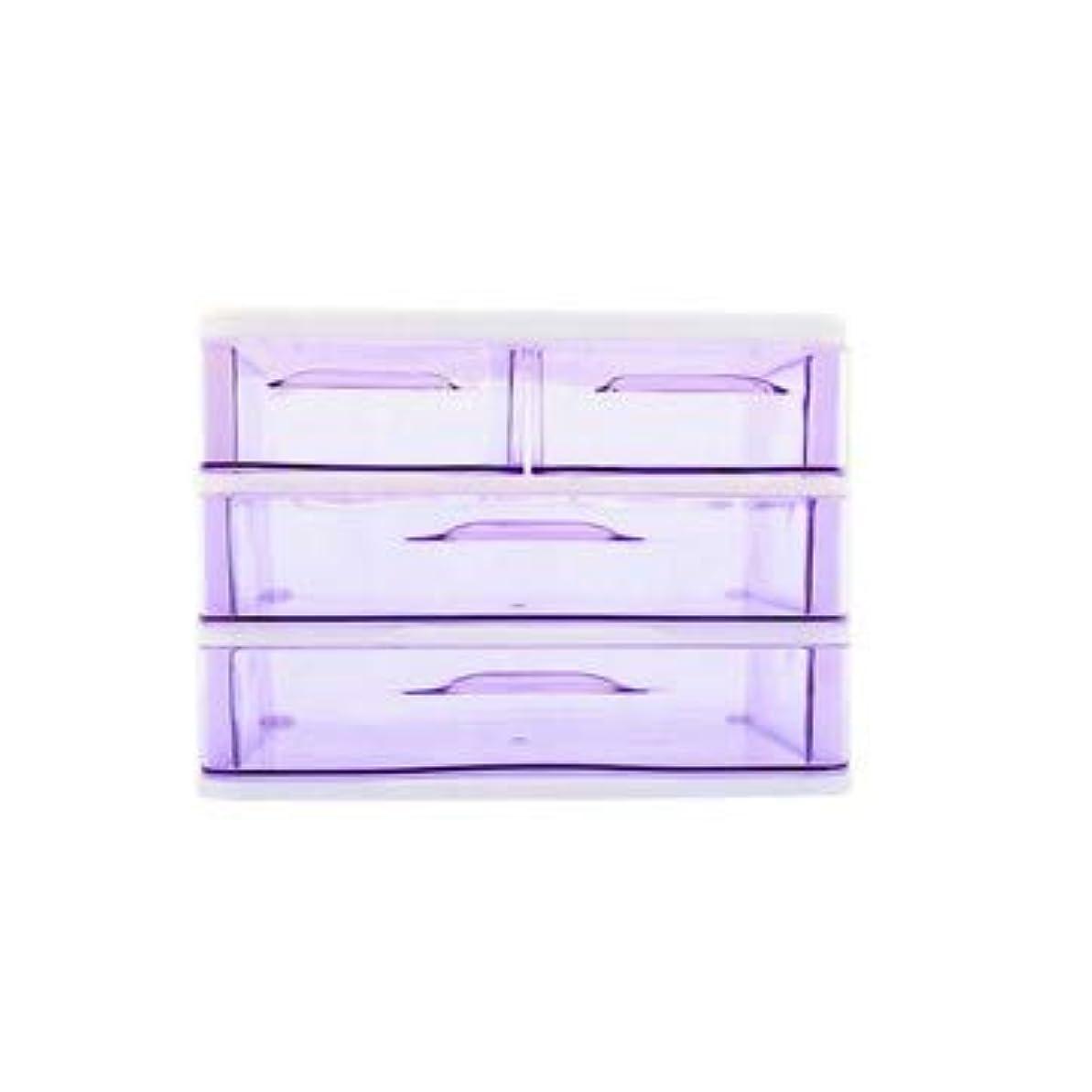量ばかブレーキクリエイティブ収納ボックス三層プラスチック化粧品収納ボックスデスクトップ引き出し型仕上げボックス収納ボックス化粧箱 (Color : Purple)