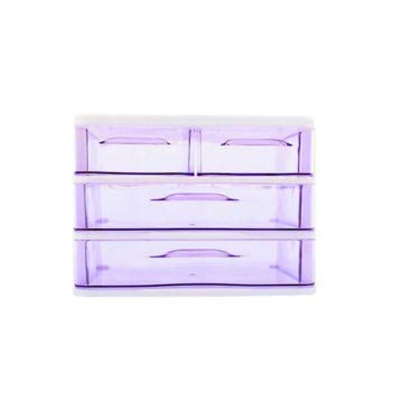 ダイエットモチーフ貯水池クリエイティブ収納ボックス三層プラスチック化粧品収納ボックスデスクトップ引き出し型仕上げボックス収納ボックス化粧箱 (Color : Purple)