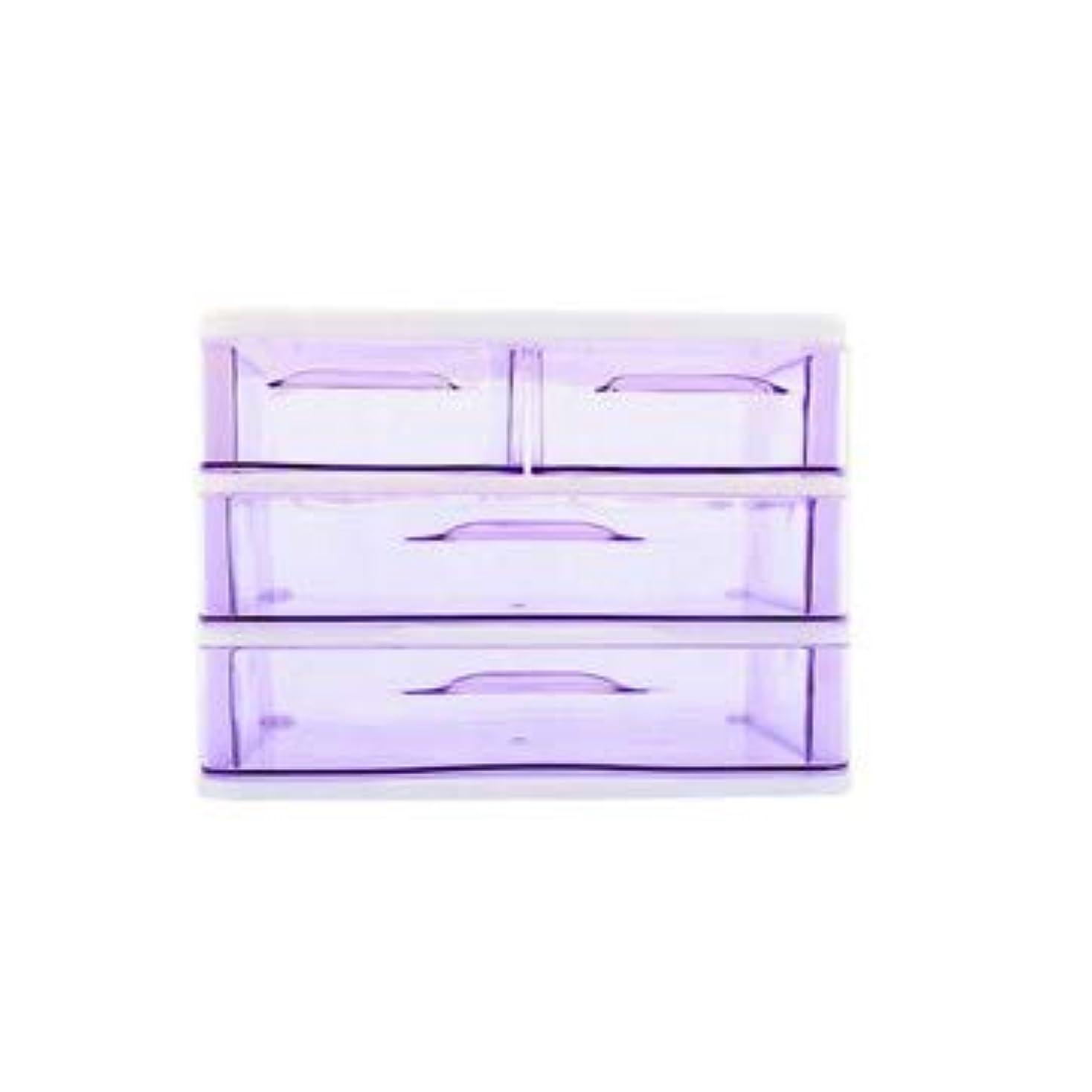集中迷彩トリクルクリエイティブ収納ボックス三層プラスチック化粧品収納ボックスデスクトップ引き出し型仕上げボックス収納ボックス化粧箱 (Color : Purple)