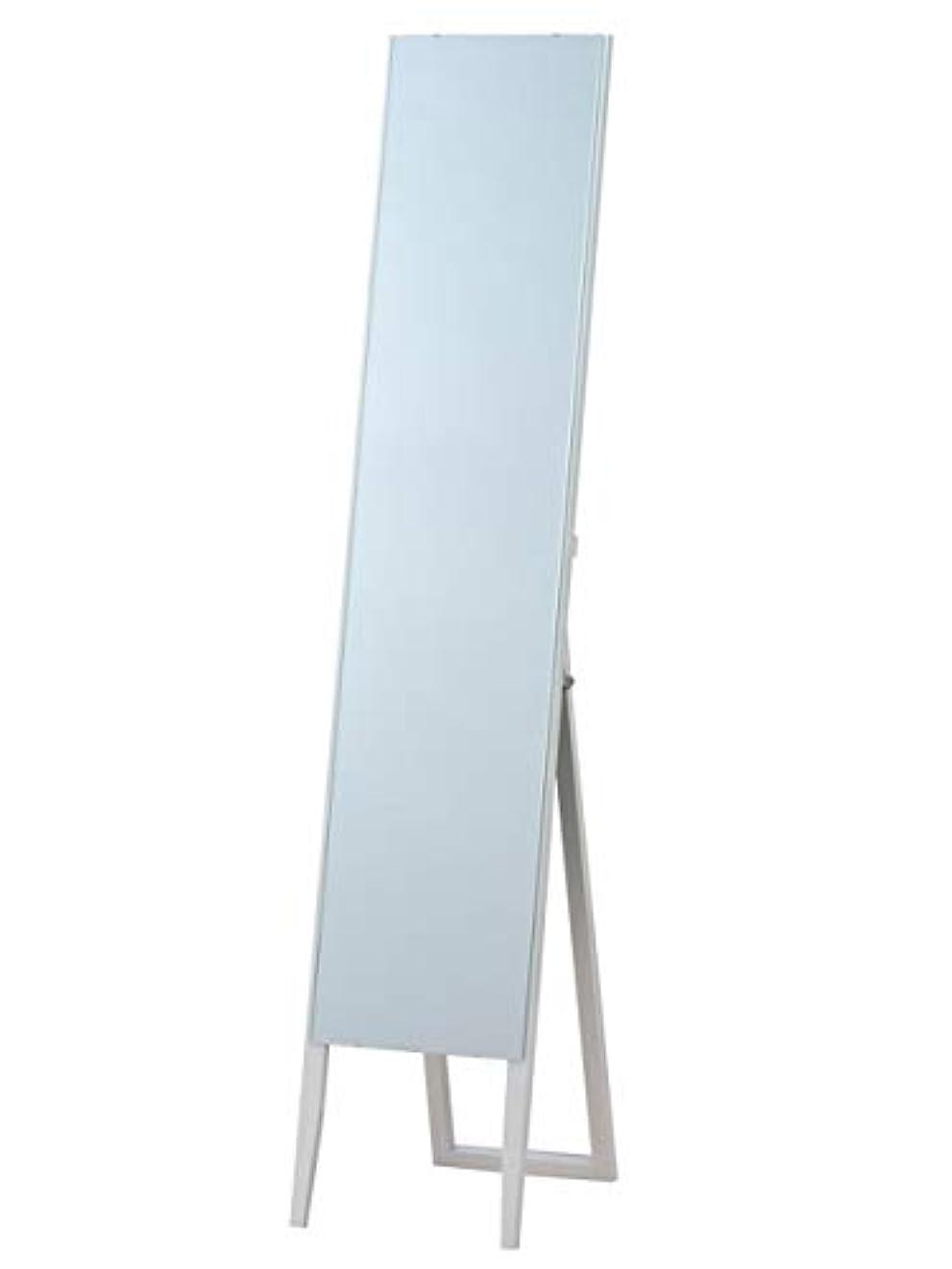 リア王フロー気分が悪い枠なし ノンフレーム スタンドミラー ホワイト(白) 全身鏡 幅30cm x 高さ150cm 飛散防止 シンプル ミラー ショップ 催事 百貨店 店舗 姿見