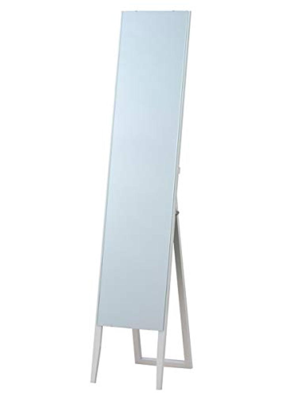 無線いとこちょうつがい枠なし ノンフレーム スタンドミラー ホワイト(白) 全身鏡 幅30cm x 高さ150cm 飛散防止 シンプル ミラー ショップ 催事 百貨店 店舗 姿見