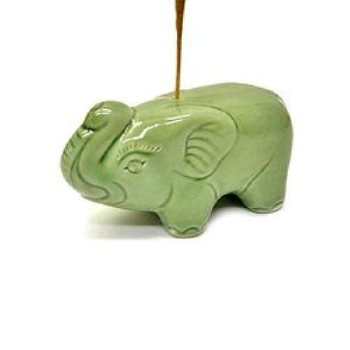 住人別の太平洋諸島象さんのお香立て <緑> インセンスホルダー/スティックタイプ用お香立て?お香たて アジアン雑貨