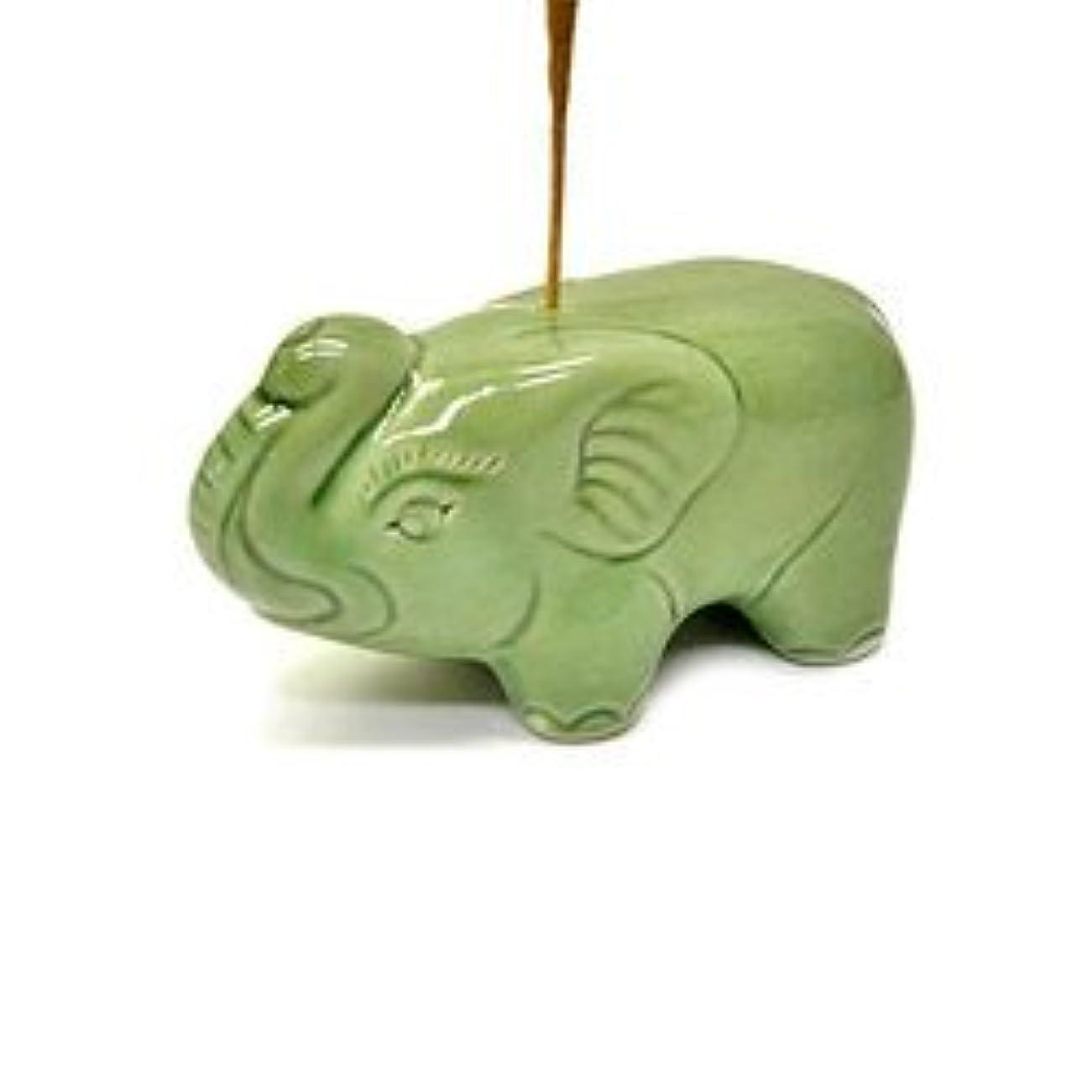 感動するラウズ物理学者象さんのお香立て <緑> インセンスホルダー/スティックタイプ用お香立て?お香たて アジアン雑貨