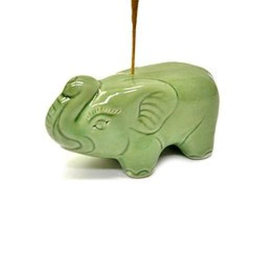 あいさつブロック振り向く象さんのお香立て <緑> インセンスホルダー/スティックタイプ用お香立て?お香たて アジアン雑貨