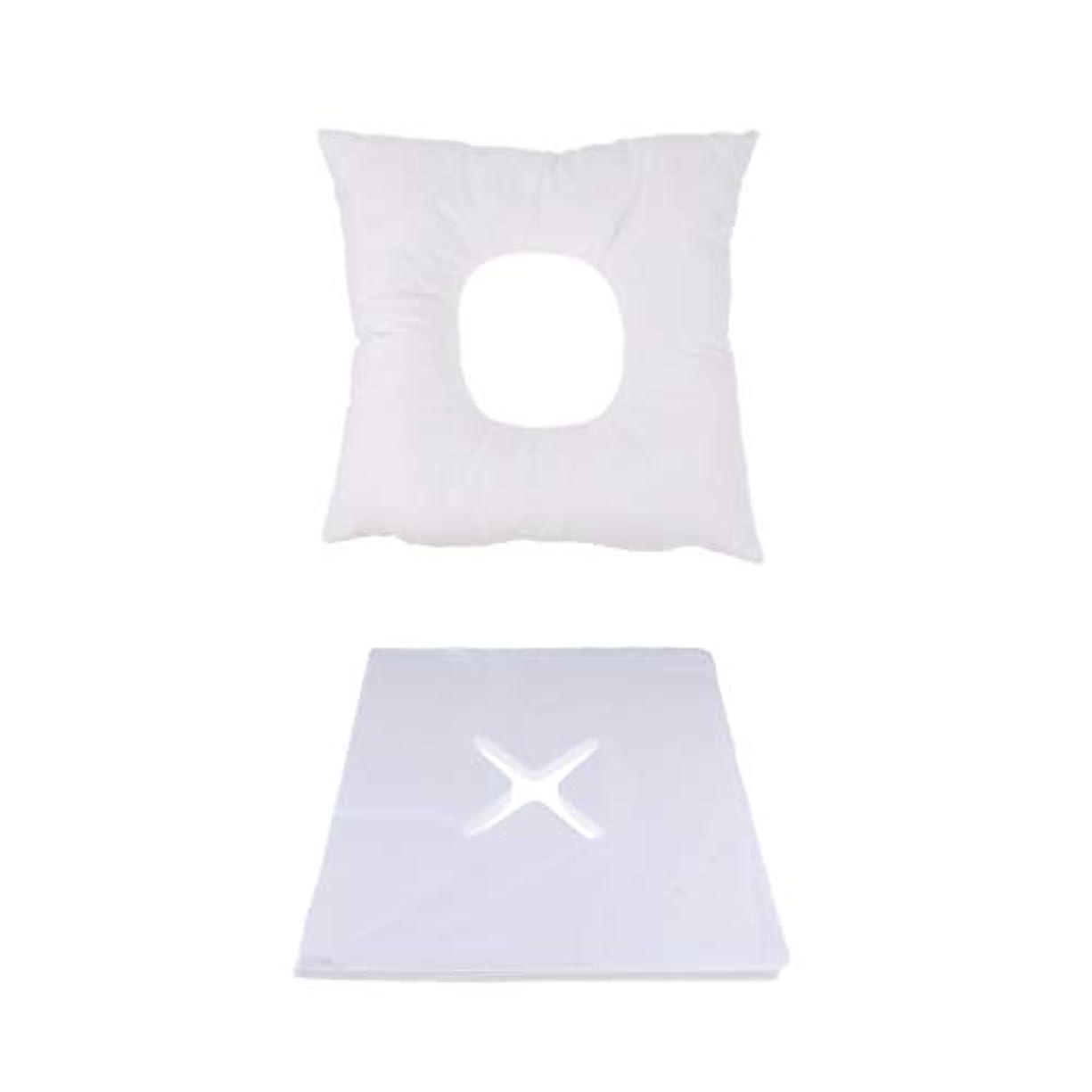 お気に入り未払い要件P Prettyia マッサージ用クッション マッサージ枕 顔枕 フェイスマット 200個使い捨てピローカバー付 快適