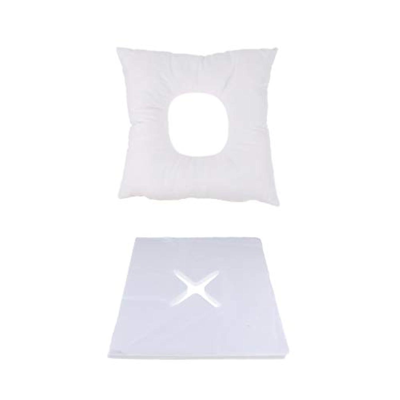 品穏やかなミルクP Prettyia マッサージ用クッション マッサージ枕 顔枕 フェイスマット 200個使い捨てピローカバー付 快適
