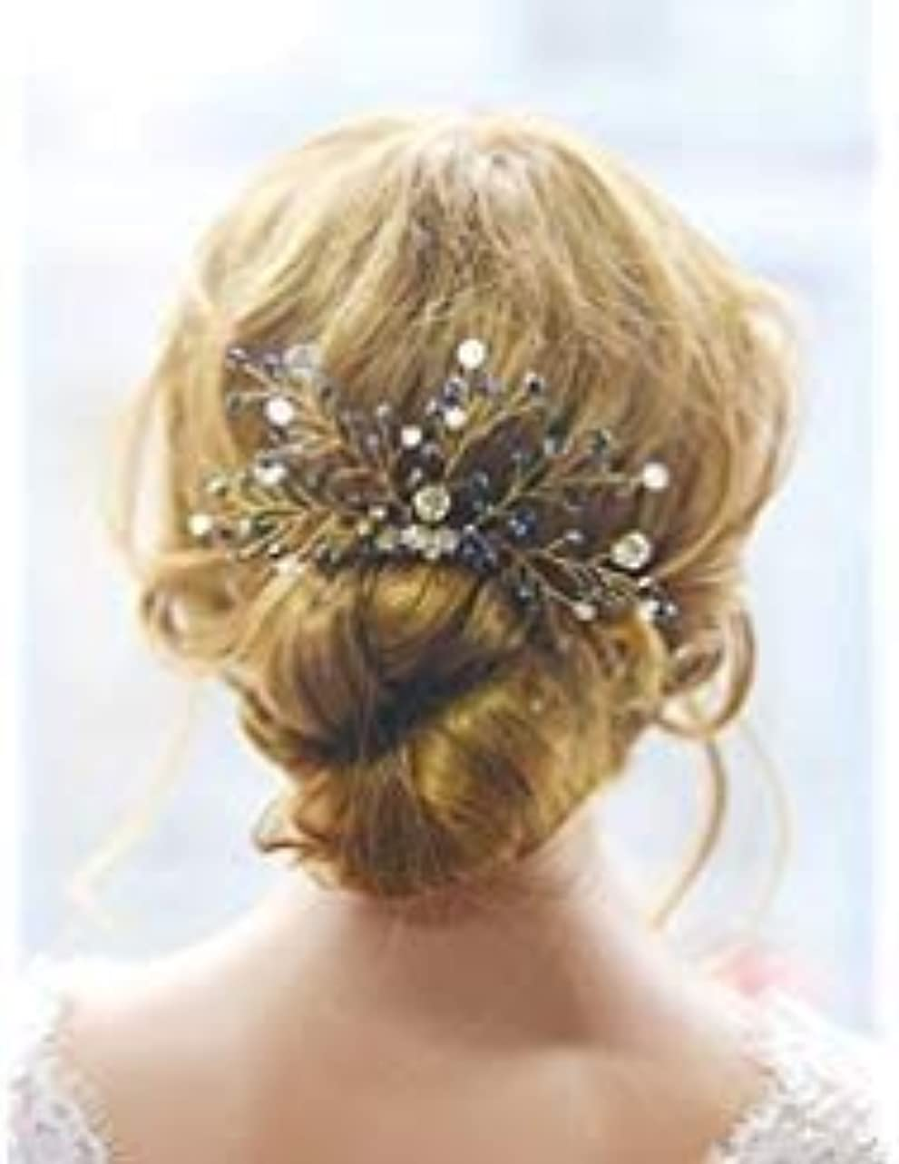 苦アイロニー代わりのFXmimior Bridal Black Vintage Wedding Party Crystal Rhinestone Vintage Hair Comb Hair Accessories [並行輸入品]