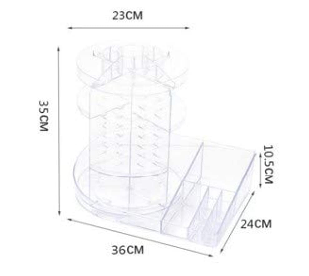 役職落ちた荷物化粧品収納ボックス透明回転テーブル化粧台スキンケア製品口紅ラック仕上げボックス (Color : ホワイト)