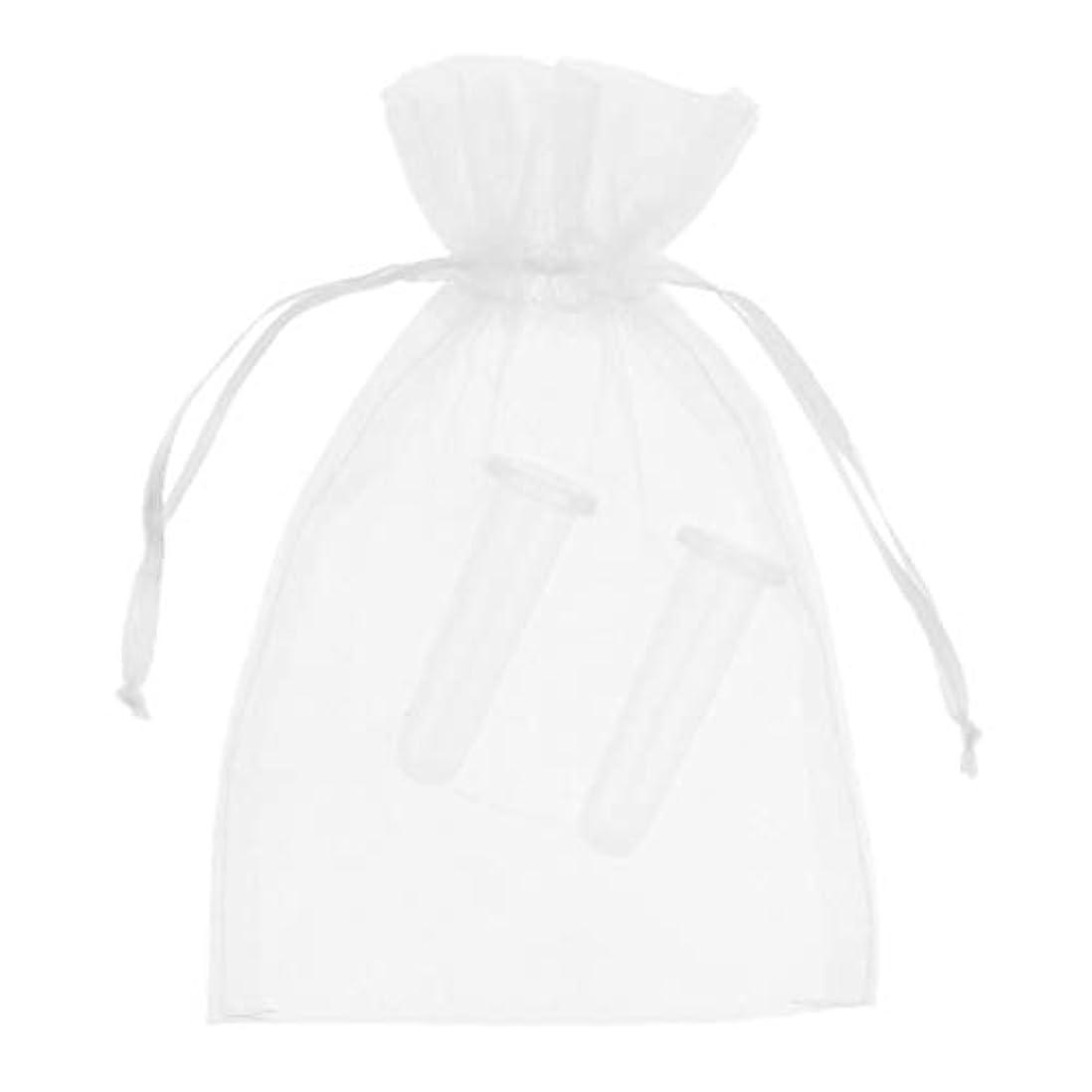 クラックポット磁器湾シリコーン製 真空 顔用マッサージ カッピング 吸い玉カップ カッピング 収納ポーチ付き 2個 全2色 - ホワイト