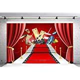 7x5フィート ステージ照明 赤いカーペット 写真背景 写真クロス シネマ 写真 背景 ハリウッド パーティー 装飾 写真ブース スタジオ小道具 SDJ-214