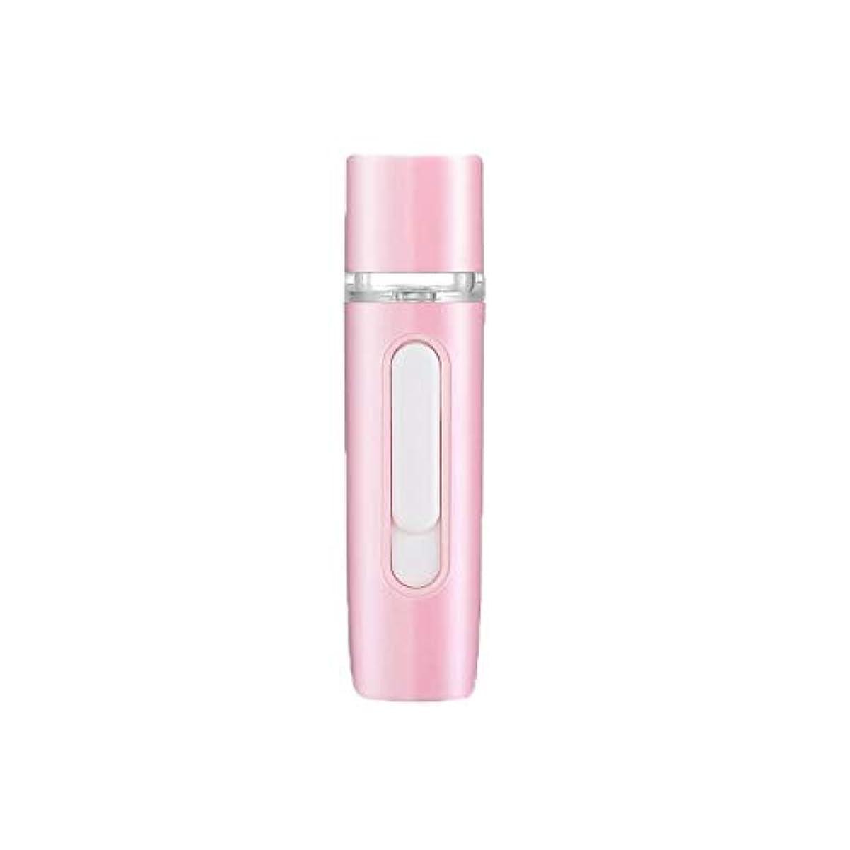 ZXF 新しいハンドヘルドポータブル水和機器美容機器ABS材料コールドスプレー蒸し面マルチプレックス充電宝物加湿器ピンクセクションホワイト 滑らかである (色 : Pink)