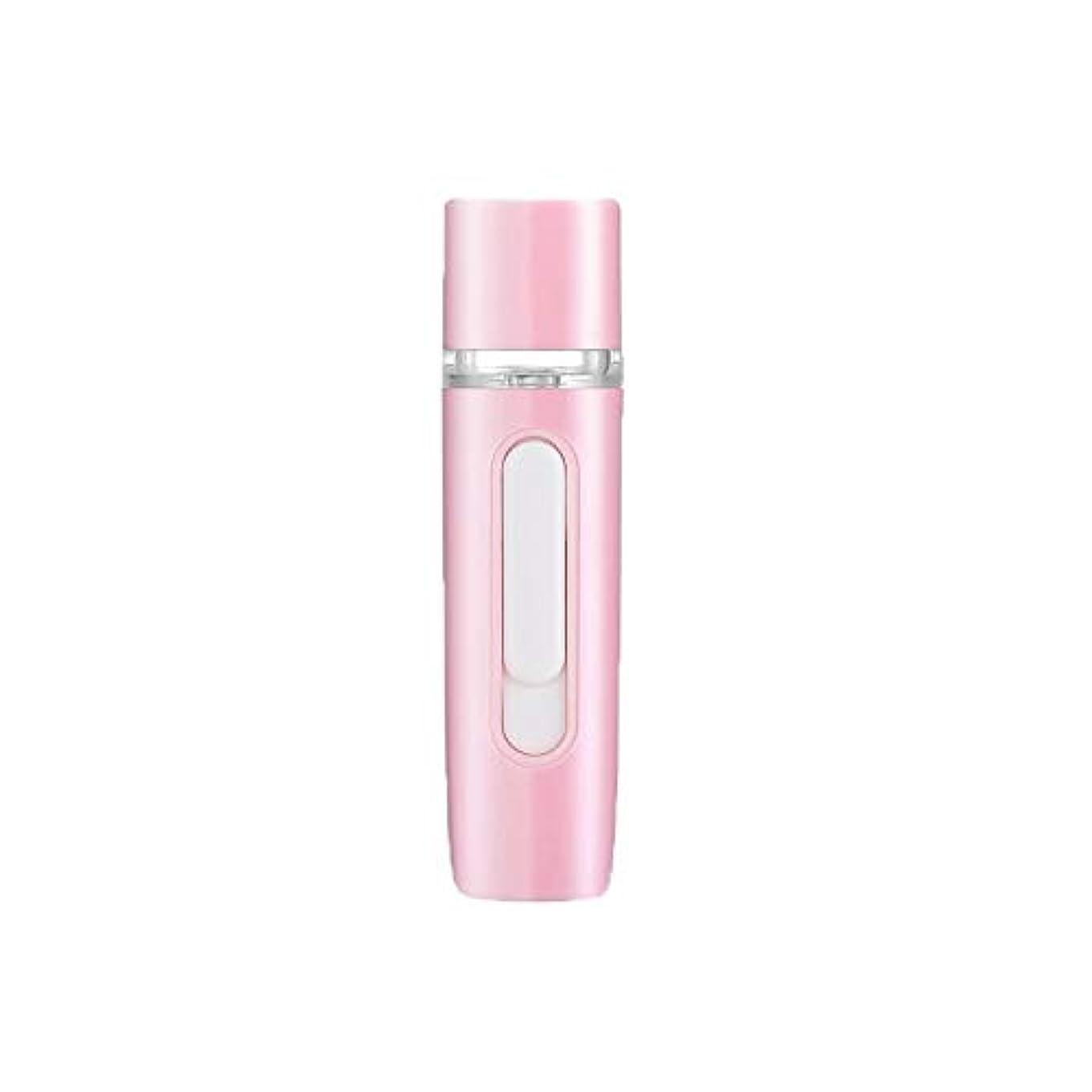 慈善症状であることZXF 新しいハンドヘルドポータブル水和機器美容機器ABS材料コールドスプレー蒸し面マルチプレックス充電宝物加湿器ピンクセクションホワイト 滑らかである (色 : Pink)