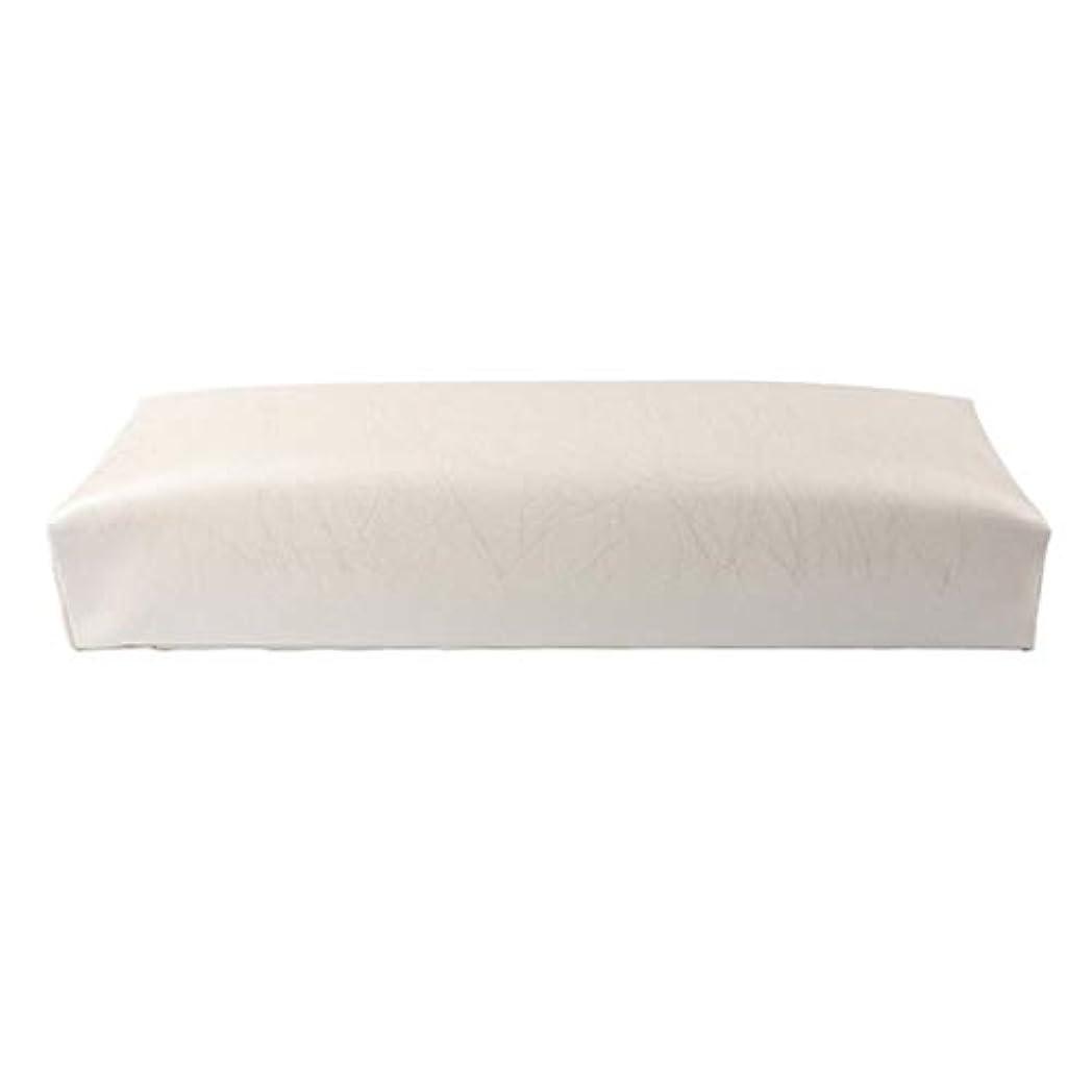 パワー成功生理ACAMPTAR ネイル用マニキュアハンド枕長方形PUレザーハンドレストクッションネイルピローサロンハンドホルダーアームレストレストマニキュアネイルアートアクセサリーツールホワイト