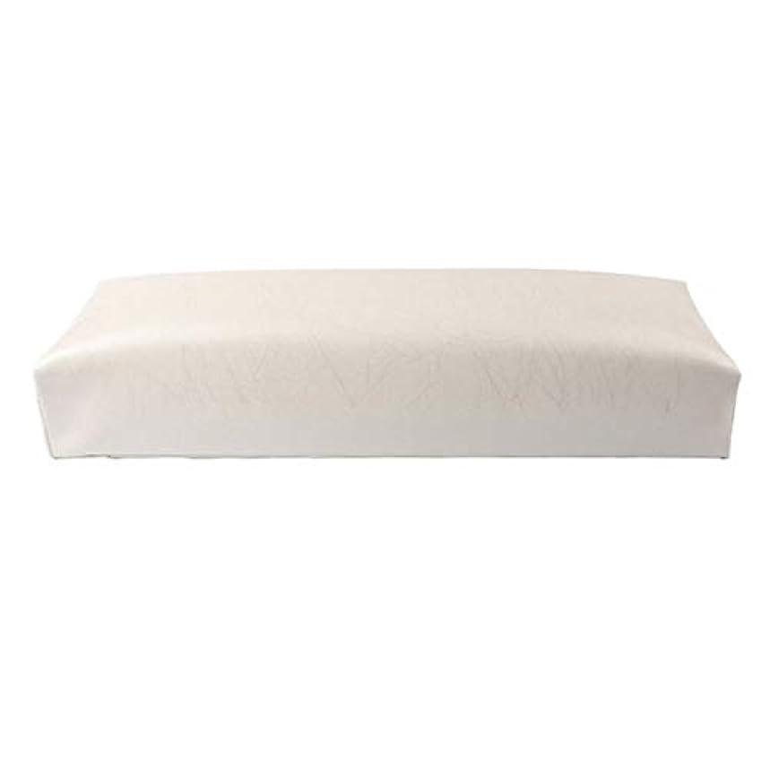 SODIAL ネイル用マニキュアハンド枕長方形PUレザーハンドレストクッションネイルピローサロンハンドホルダーアームレストレストマニキュアネイルアートアクセサリーツールホワイト