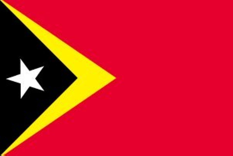世界の国旗 東ティモール 国旗 ポータブルフラッグ [ 25×37.5cm ポール付き手旗 高級テトロン製 ]