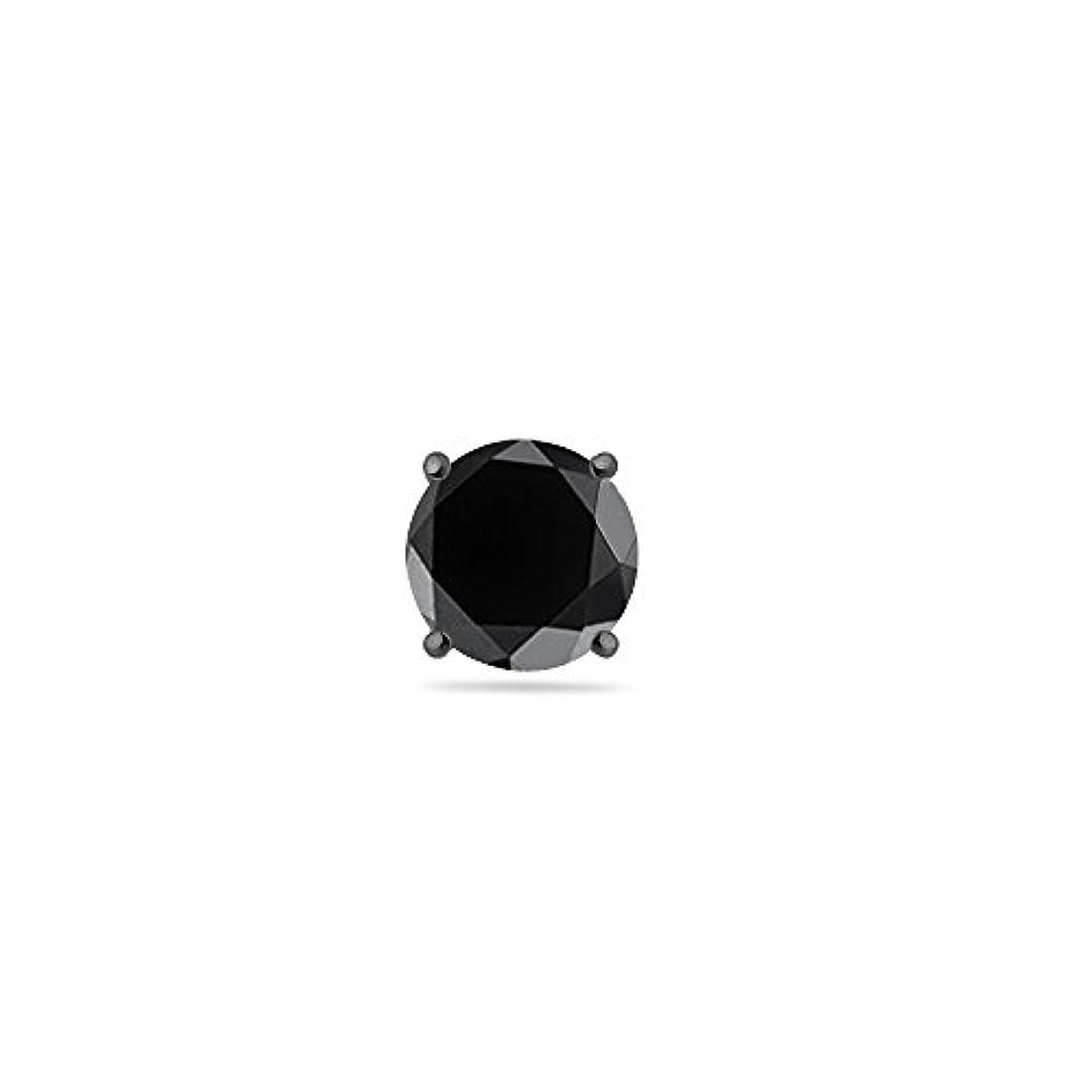 破滅愛撫過度にクリスマスDeal – 3 / 4 ( 0.71 – 0.80 ) CTSの5.34 – 6.01 MM AAラウンドブラックダイヤモンドメンズスタッドイヤリングで14 K Blackenedホワイトゴールド