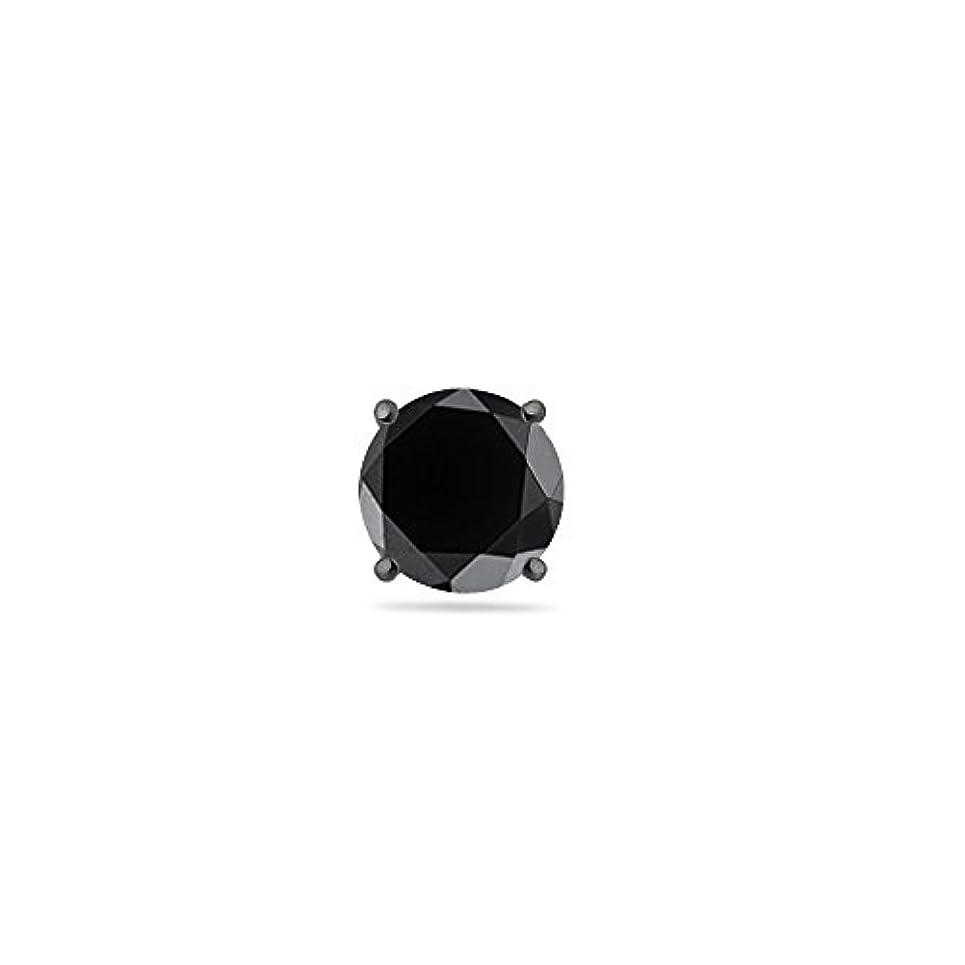 罪悪感極端な引き潮クリスマスDeal on 3 / 8 ( 0.35 – 0.45 ) CTSの3.5 – 4.0 MM AAAラウンドブラックダイヤモンドメンズスタッドイヤリングで14 K Blackenedホワイトゴールド