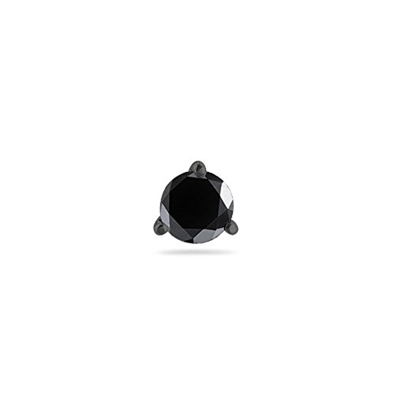 フレアオセアニア寝具クリスマスDeal – 1 / 4 ( 0.21 – 0.27 ) CTSの3.70 – 3.90 MM AAラウンドブラックダイヤモンドメンズスタッドイヤリング14 K Blackenedホワイトゴールド