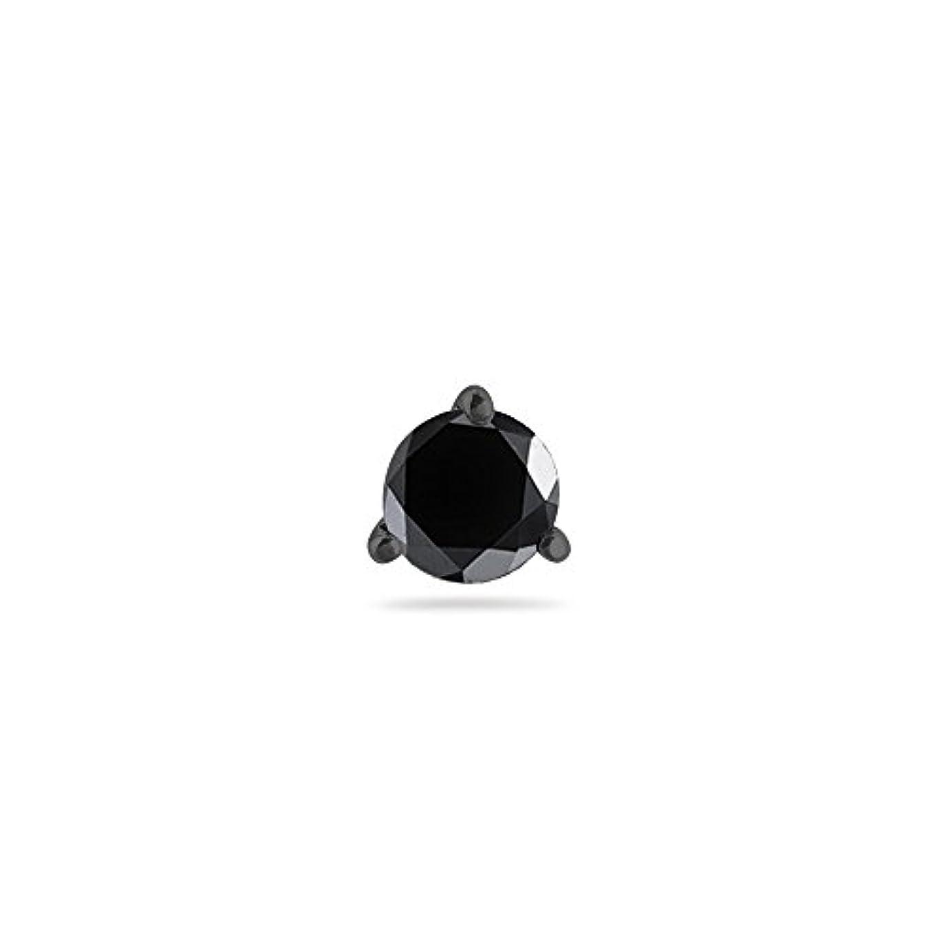 趣味弱める懸念Holiday Deal – 3 / 4 ( 0.71 – 0.80 ) CTSの5.34 – 6.01 MM AAAラウンドブラックダイヤモンドメンズスタッドイヤリング14 K Blackenedホワイトゴールド