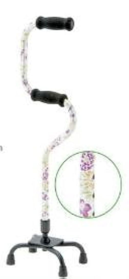 トン被害者不適マキライフテック アルミ製2段階4点支柱杖 軽量タイプ 紫花柄 OT-37PG