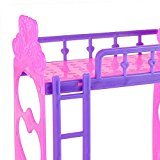 Zehui Cute Plastic Double Bed Frame for Kelly compatible to Barbie Doll Bedroom Furniture Accessories Colour Random 8.9cm
