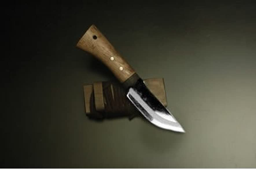市の花勝者国籍ミニ剣鉈 75 片刃 白鋼 磨 樫柄 木鞘紐付 mini-104