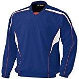 ミズノ 少年 ジュニア トレーニングウェア(上) Vネックジャケット長袖 52WJ140 パステルネイビー×ホワイト(16) 160