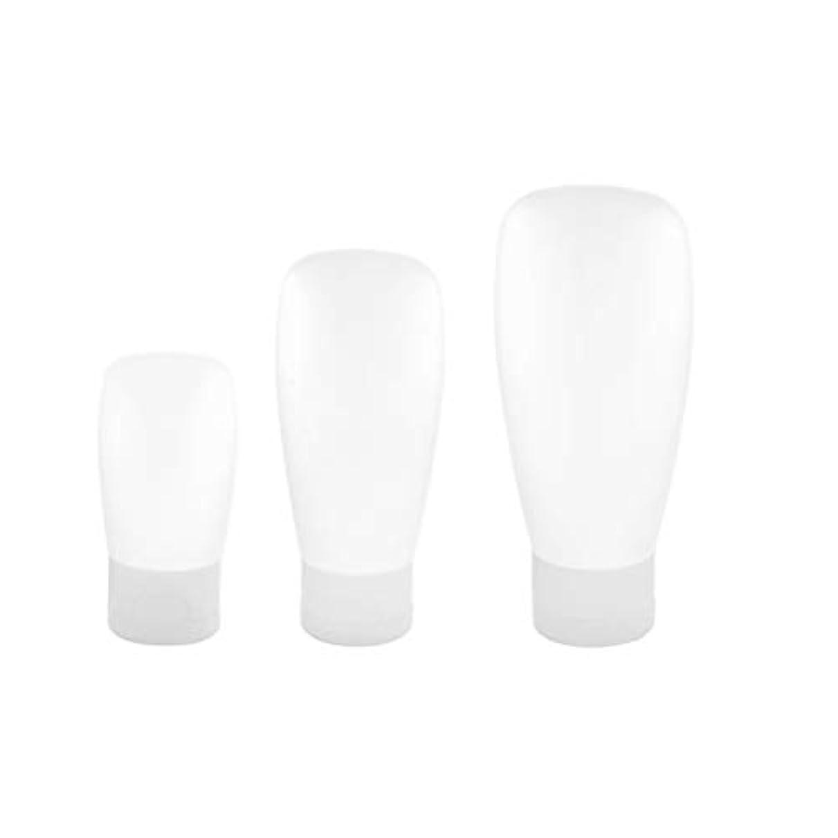 広くむき出し強調するTOPBATHY 3本旅行ボトルプラスチック詰め替え式トラベルコンテナスクイーズトラベルチューブセット用シャンプーローションソープ30ML 60ML 100ML(ホワイト)