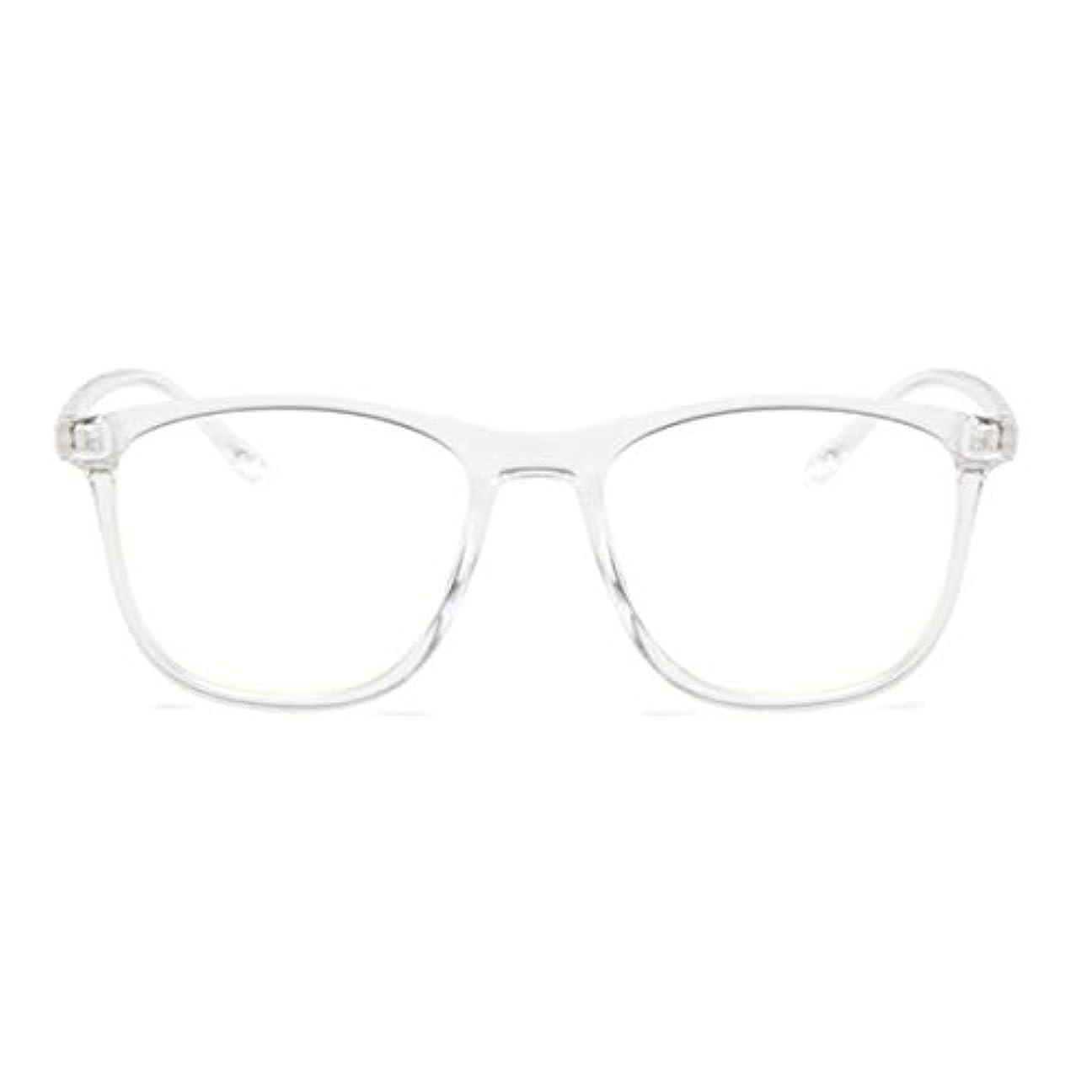 プラカード二度別の韓国の学生のプレーンメガネ男性と女性のファッションメガネフレーム近視メガネフレームファッショナブルなシンプルなメガネ-透明ホワイト