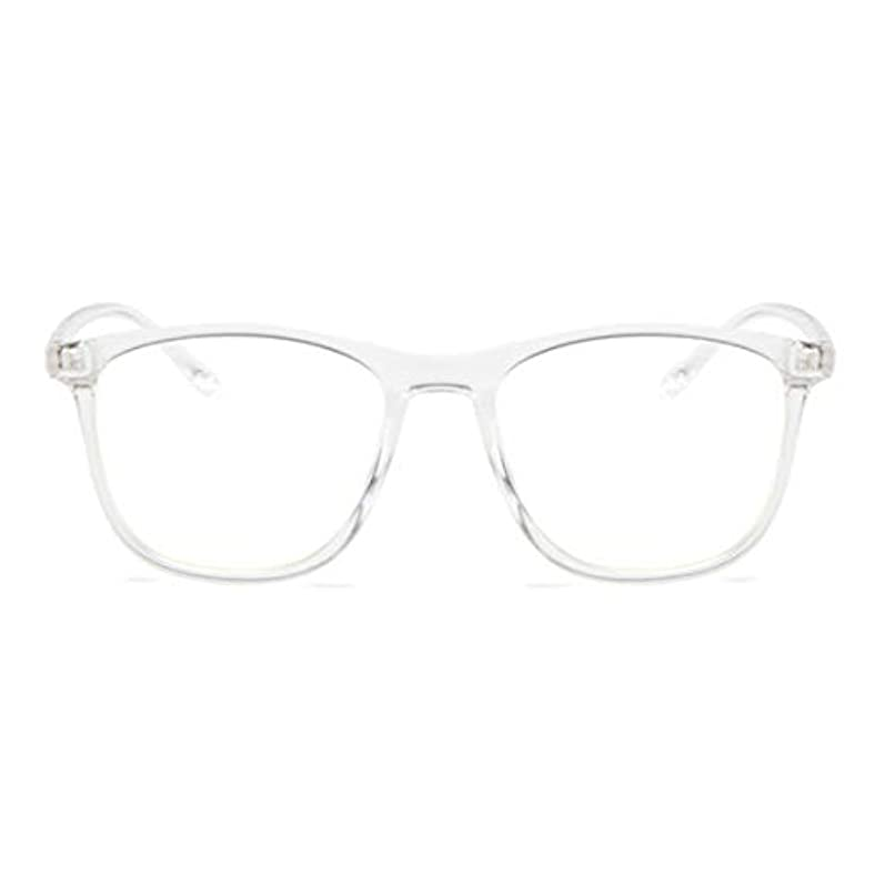 レザー彼の下品韓国の学生のプレーンメガネ男性と女性のファッションメガネフレーム近視メガネフレームファッショナブルなシンプルなメガネ-透明ホワイト